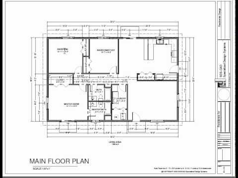 H74 ranch house plans 1600 sq ft slab 3bdrm 2 bth youtube for Slab floor plans