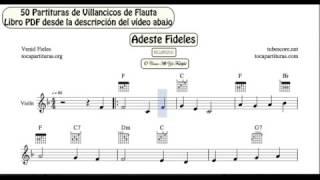 50 Partituras de Villancicos Vídeo Partitura para Violín Libro PDF con Acordes de Guitarra Piano
