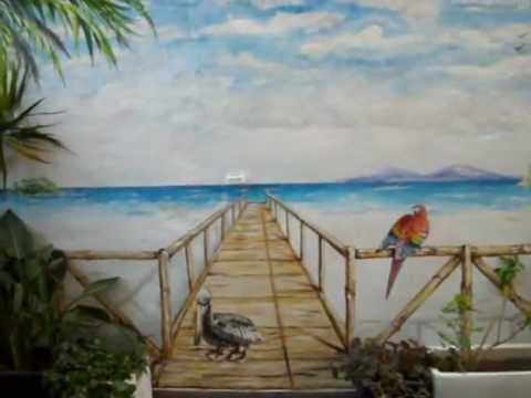 mural pintado la playa en una terraza videomusical youtube. Black Bedroom Furniture Sets. Home Design Ideas