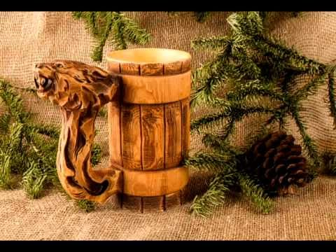 Wooden Tankard Beer Stein Mug Carved Souvenir Cedar Gift HandMade Cup Barrel