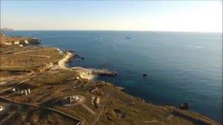Крым, г.Севастополь, 35-я береговая батарея, голубая бухта в феврале