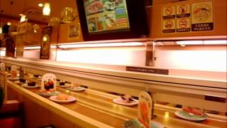 Japanese Customer Food # 60 Touch screen menu Japanese bullet train delivered sushi restaurant