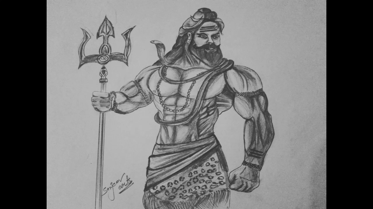 Mahakaal Drawing Easy Black And White