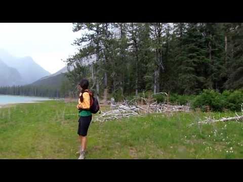 Hiking to a beautiful lake in Jasper National Park, Alberta
