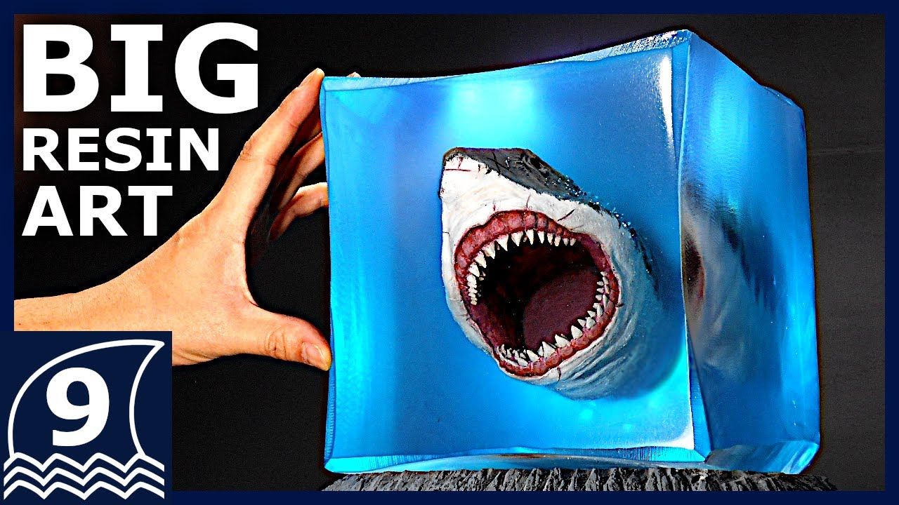 DIY. BIG Resin art of MEGALODON ATTACKING【Sculpture of ancient giant creatures/Beautiful horror art】