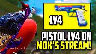 PISTOL ONLY 1V4 IN MOK'S LIVESTREAM!! | PUBG Mobile