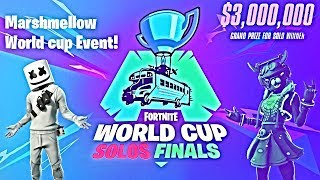 World cup Finals Day 3 - All solo Games + Marshmallow Live event!  Fortnite Battle Royale!