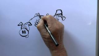 HOW TO DRAW A CARTOON  PIG EATING APPLES