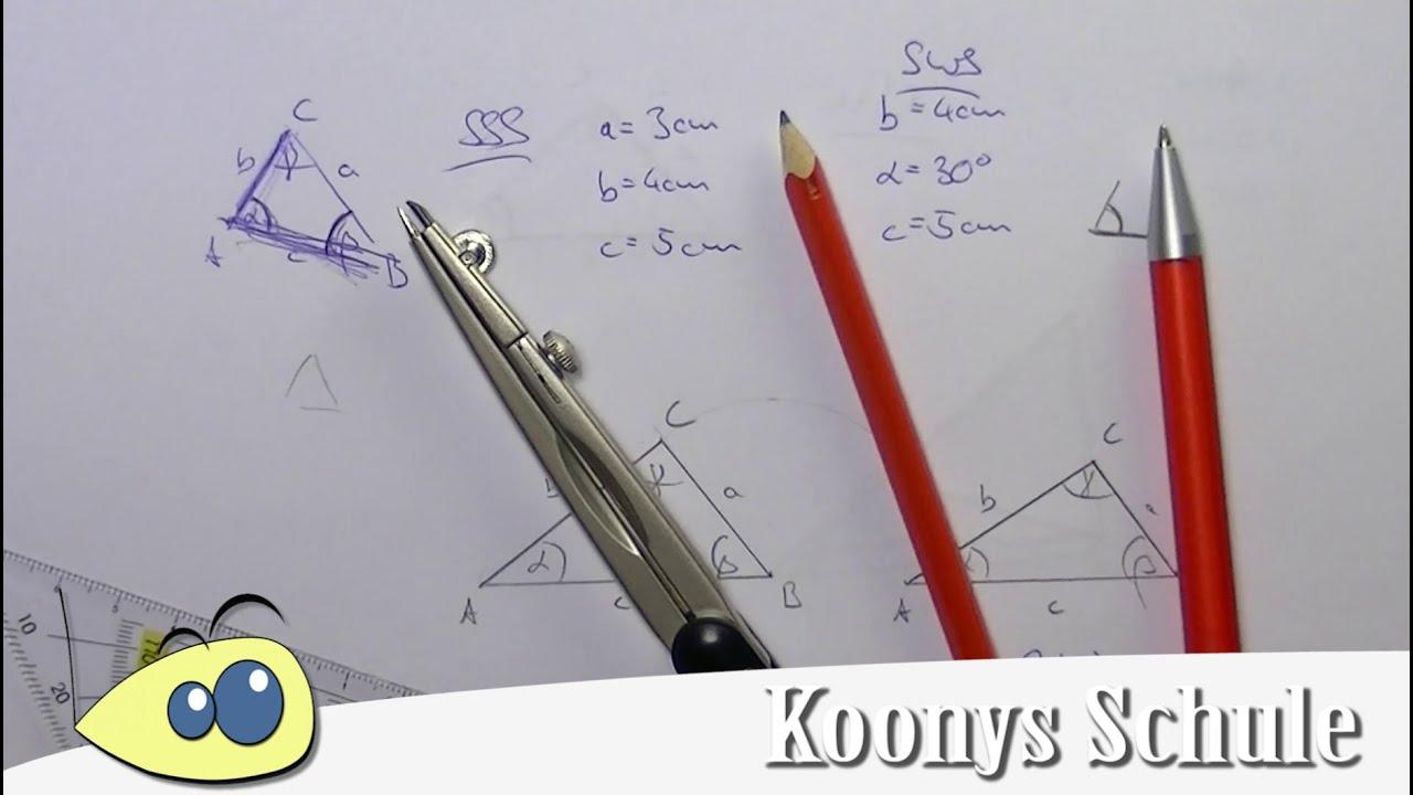 Dreiecke konstruieren, Kongruenzsätze, SSS, SWS, WSW, SsW, Geometrie ...