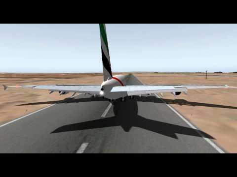 X-Plane UAE A380 final rwy 27 HDAM