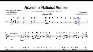 Argentina National Anthem Voice Sheet Music with Notes Original Tone Treble Clef