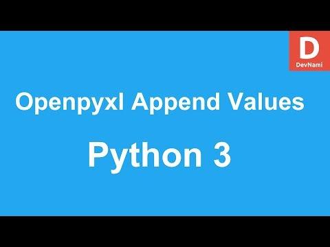 Python 3 Openpyxl Append Values to Excel Spreadsheet - YouTube