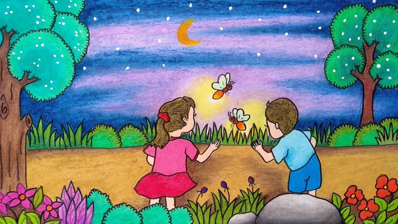 Menggambar Kunang Kunang Cara Menggambar Suasana Malam Belajar Menggambar Yang Mudah Youtube