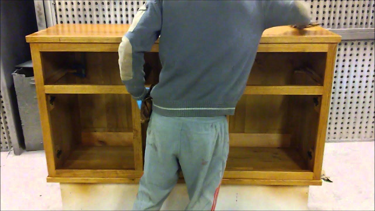 Barnizado y acabado de muebles de roble mazizo hechos a mano - YouTube