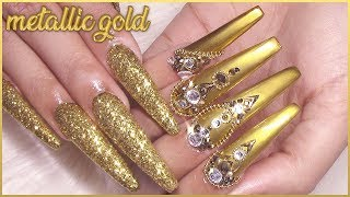 Royalty Vibes Gold Metallic Acrylic Nails Design