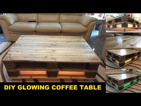 DIY furniture project: Build a pallet coffee table GLOWING !