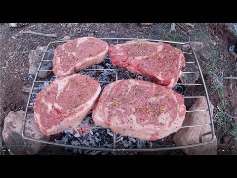 Cooking With Campfire Coals-- Ribeye Steak, Parmesan French Beans And Dogs
