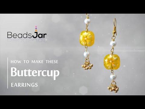 Simple Beautiful Buttercup Glass Beads Earrings
