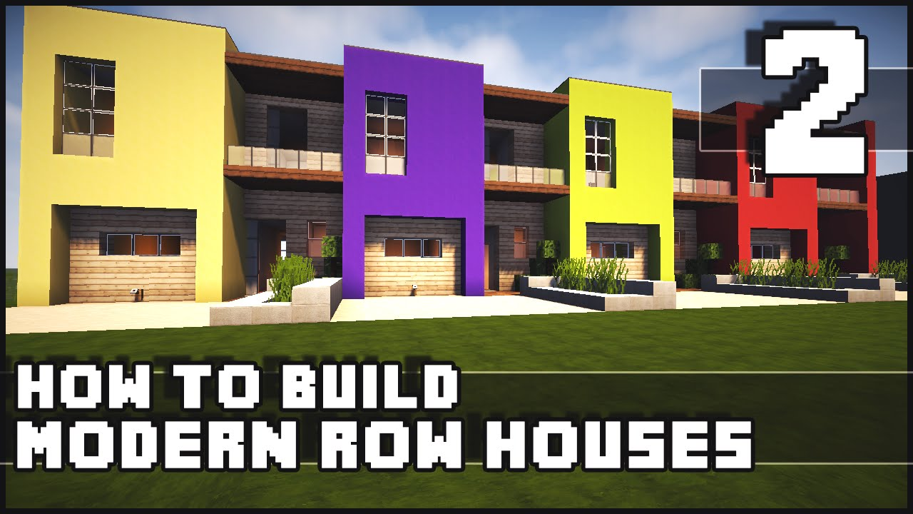 Minecraft house how to build modern row houses part for How to build a modern home