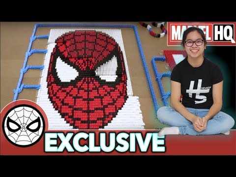 Spider-Man Domino Fall (10,000 DOMINOES!) with Hevesh5! | MARVEL HQ EXCLUSIVE
