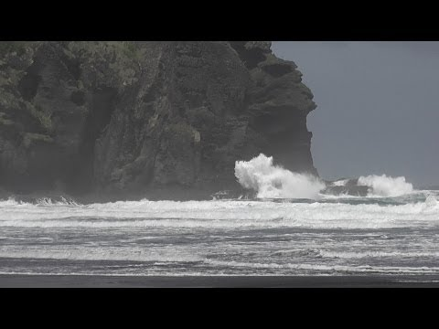 Piha Beach after the weather bomb