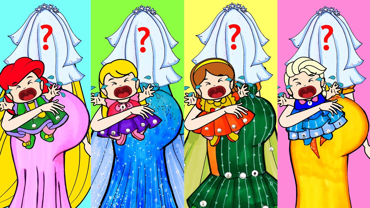 [DIY] Paper Dolls Elsa Baby OR Bella Baby OR Maleficent Baby? Beautiful Dresses Handmade Papercrafts