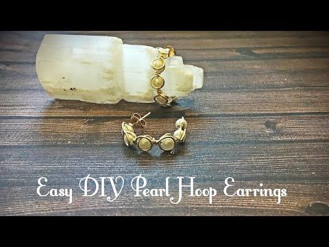 How to Make DIY Pearl Hoop Post Earrings By Denise Mathew
