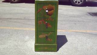 Green Gold Painted Fish Lotus Leather Cd Cabinet Wk1881