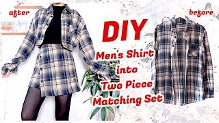Refashion DIY Men's Shirt into Two Piece Matching Set / ファッション 古着リメイク / 옷리폼 / COSTURAㅣmadebyaya