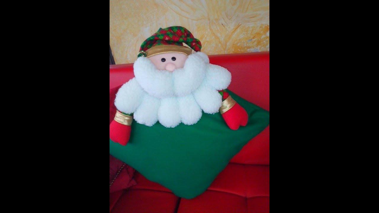 Cojin Navideno Papa Noel Youtube - Manualidades-navideas-papa-noel