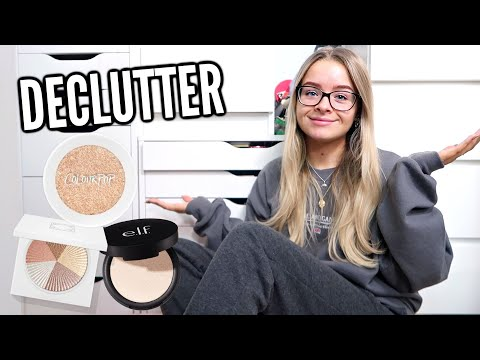 DECLUTTER MORE MAKEUP WITH ME.. HIGHLIGHTERS, MASCARAS, LASHES