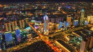 City of Lights Haikou Tallest Building Dusk Till Dawn Night Scene of 海口 Hainan China