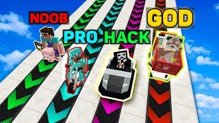 Minecraft NOOB vs PRO vs HACKER vs GOD : EPIC BOOST RAMP RACE BATTLE in Minecraft