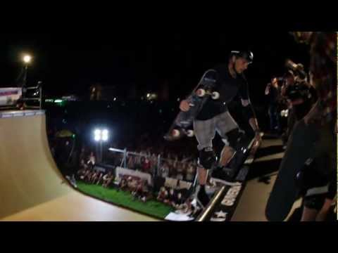 Tony Hawk gets air while Kanye West sings