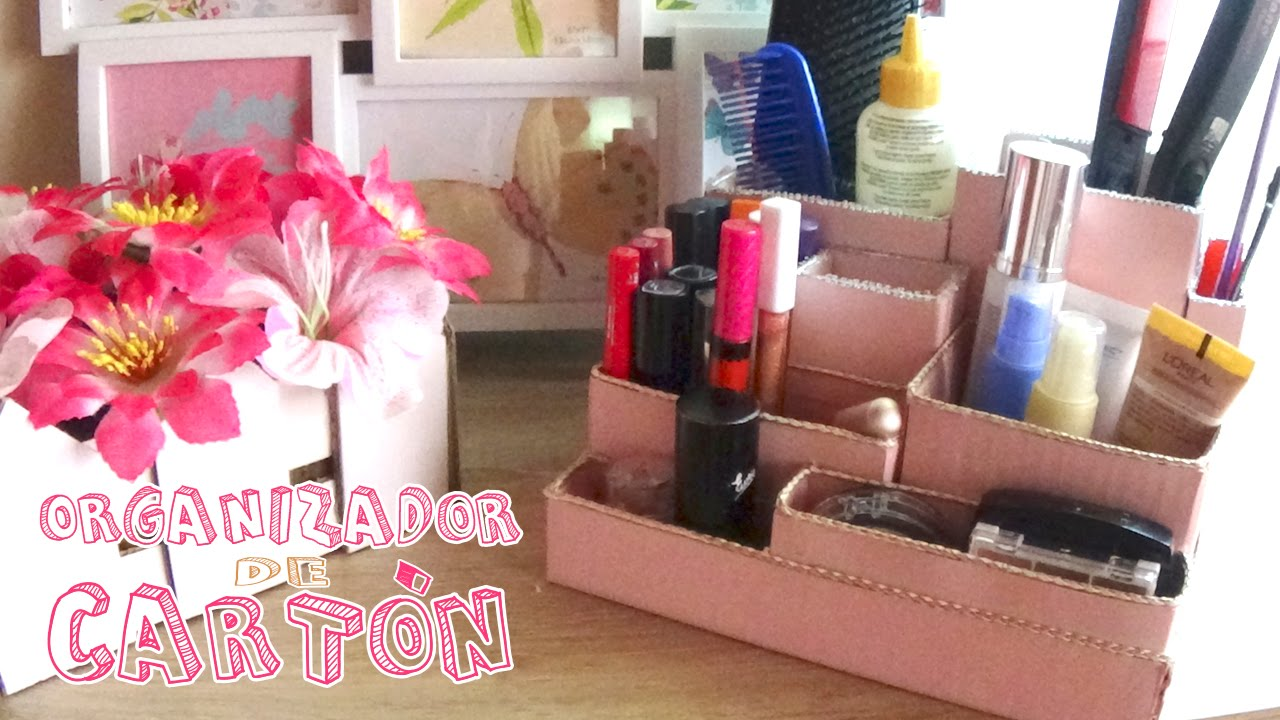 Organizador de maquillaje hecho con cart n candy bu youtube - Como hacer un organizador de zapatos casero ...