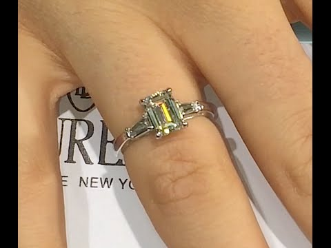 1 50 ct Emerald cut Diamond Engagement Ring with Side Baguettes