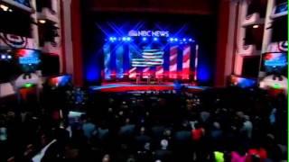 NBC News Democratic Debate 2016 Crystal Garrett National Anthem