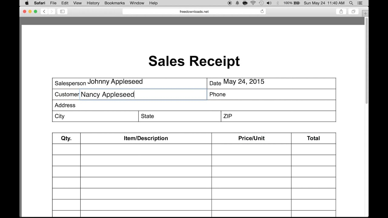 How to Write an Itemized Sales Receipt Form YouTube – Receipt Forms