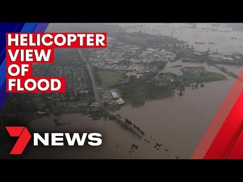 View of flooded area of Sydney seen from a helicopter - Monday 22nd March 2021 | 7NEWS