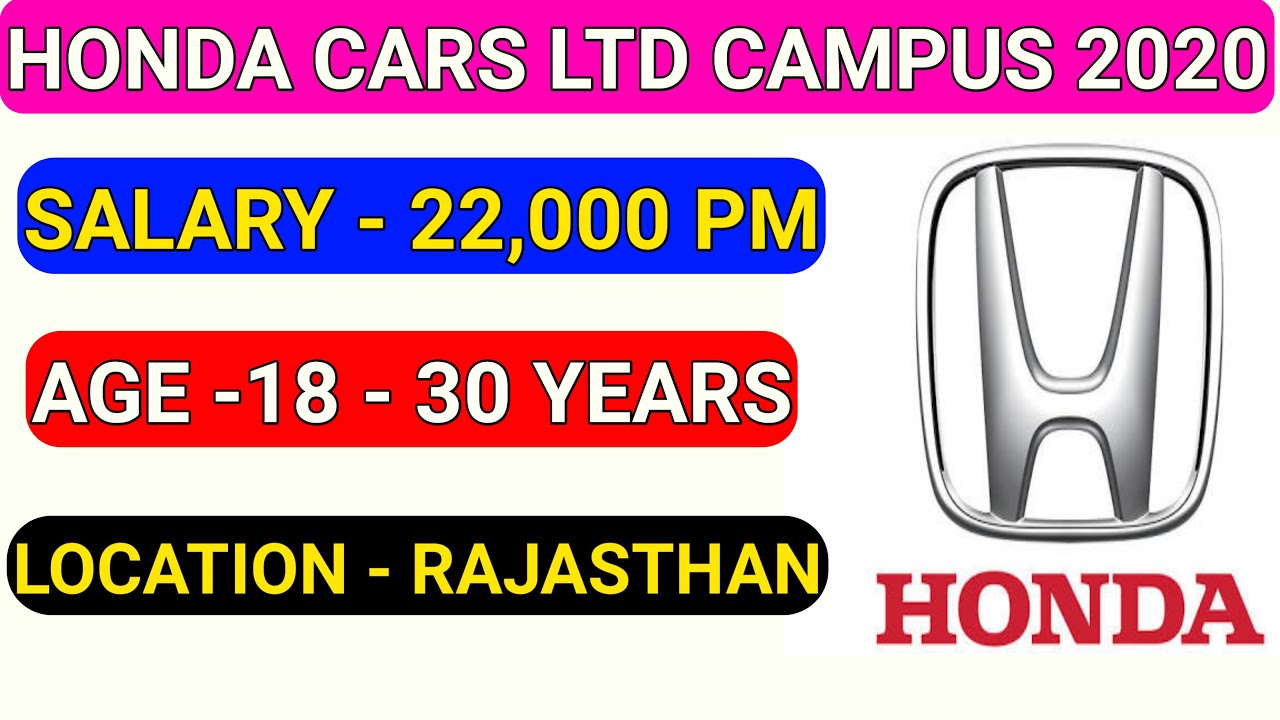 Honda Cars Ltd Tapura Campus Placement 2020 || Honda Company Permanent Job || Iti Job 2020