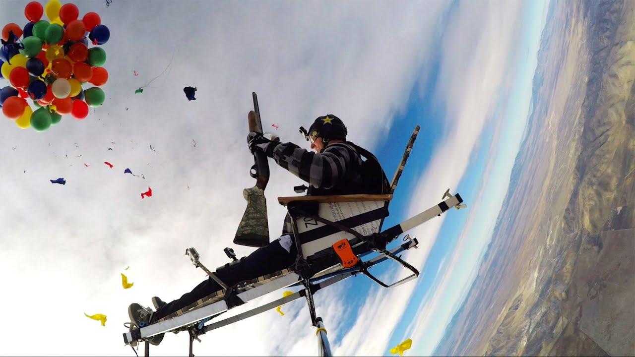 chair with balloons slat plans gopro shotgun balloon drop youtube