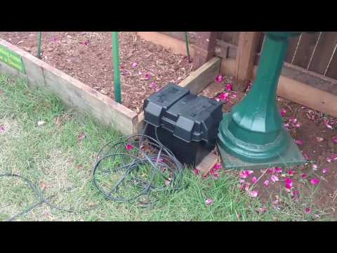 DIY 12v solar powered pond pump (pumping water test...not final yet)