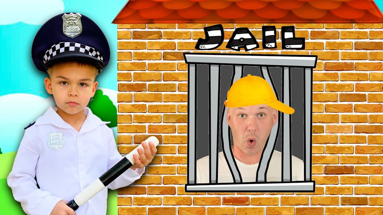Dima pretend play as Cop Police and Daddy go to toy Jail