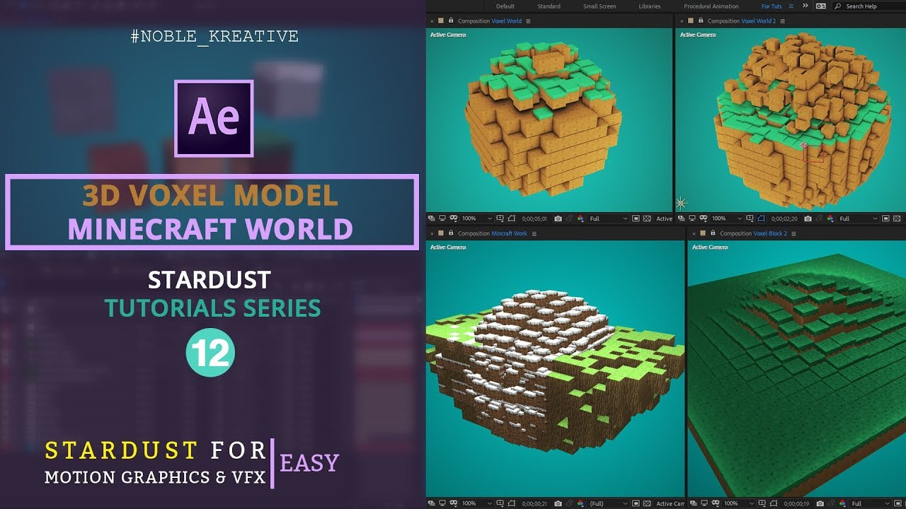Create Minecraft Style 3D Voxel Models in After Effects