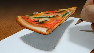 Pizza slice   3D Trick Art on Paper  Optical Illusion