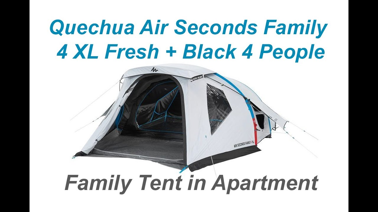 1 quechua unboxing time lapse quechua air seconds fresh black 4 man xl family apartment tent. Black Bedroom Furniture Sets. Home Design Ideas