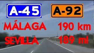 190 km - Spain Autovía ( A-45 - A-92 ) Las Pedrizas - Sevilla , Andalucía / Time-Lapse