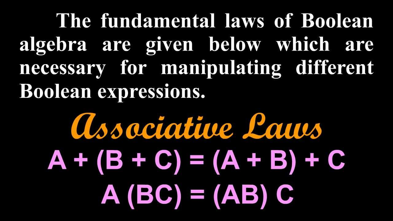 Laws And Theorems Of Boolean Algebra-commutative Law  Associative Law  Distributive Law