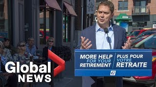 Canada Election: Andrew Scheer campaigns in Sherbooke, QC