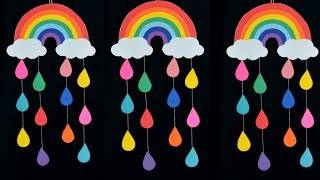 DIY - EASY RAINBOW WALL HANGING WITH PAPER  || PAPER CRAFTS || WALL DECOR IDEAS